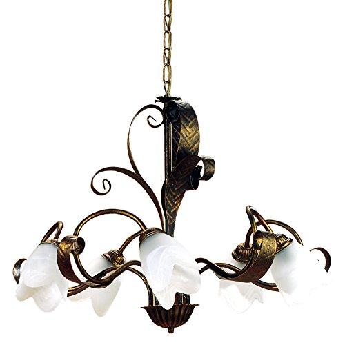 Onli 4240/5 lampadario, marrone, metallo;vetro