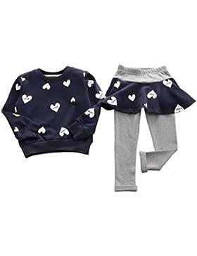 Vestido de niña de invierno blusa ropa, RETUROM nuevo estilo encantador chico chicas amor corazón camisa de manga...