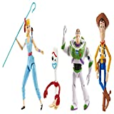 Disney Pixar Toy Story 4, Pack de 4 Figurines Articulées Buzz, Woody, la Bergère et Fourchette, pour Rejouer les Scènes du Film, Jouet pour Enfant, GDP75