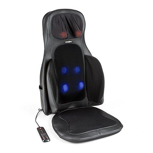 Klarfit Vanuato Massagestuhl Auflage Massage Sitzauflage für Rücken & Nacken (3D-Massage, 3 Vibrations-Intensitätsstufen, zuschaltbare Wärmebehandlung, 4 Massageköpfe) schwarz