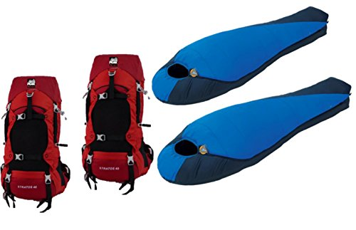 High Peak USA Alpinizmo 2 Stratos 40 Pack & 2 Extreme Pak 0F Sleeping Bags Combo Set, Red/Blue, One Size
