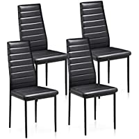 Popamazing Black Faux Leather Parson Dining Chair High Back Seat For  Kitchen Dining Room (Set