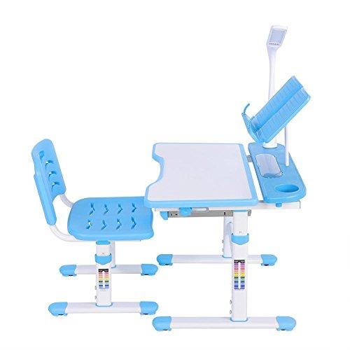 SOULONG Verstellbarer Schreibtischstuhl-Set, höhenverstellbar, ergonomischer Kinderschreibtisch und bequemer Stuhl mit Lampe, Kinder-Tisch, Blau, 100~240 V UK-Stecker