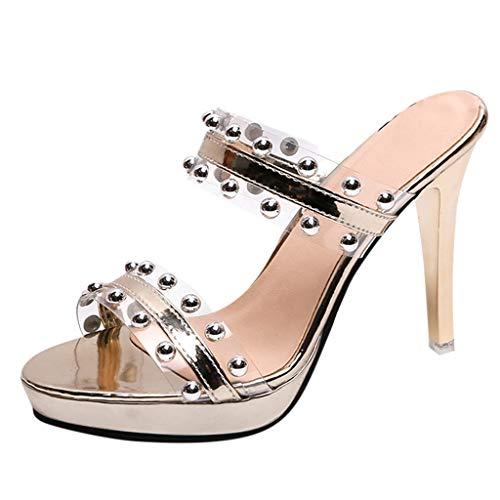 r Sandalen Bohemian Flach Sandaletten Sommer Strand Schuhe,Frauen Sommer Open Toe Hausschuhe Mode Wild Transparent Sandalen High Heel Schuh ()
