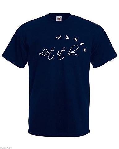 T-shirt Hommes avec Citation Let It Be avec Oiseaux / The Beatles Relatif à l'inspiration Texte T-shirt / Musique Chanson Chemise + Gratuit Au Hasard Cadeau Décalque - Bleu marine, Large