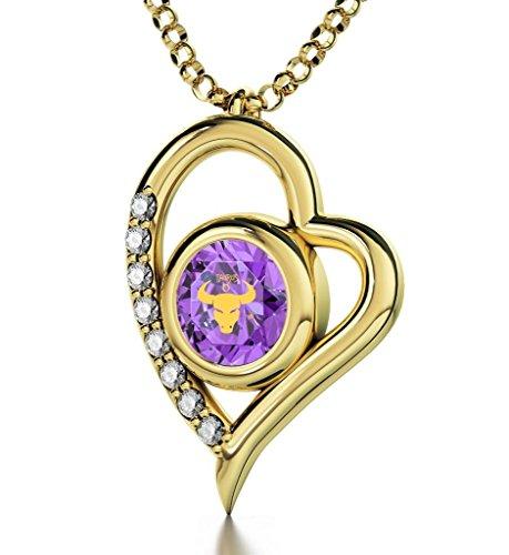 Pendentif Coeur Signe du Zodiaque Plaqué Or - Collier Taureau avec Inscription en Or 24ct sur un Cristal Swarovski, 45cm - Bijoux Nano Violet Clair