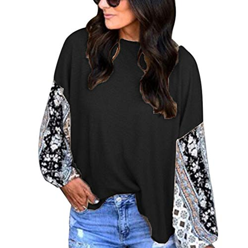 ESAILQ Women Fashion Long Sleeve Printing Casual O-Neck Blouse Tee Tops T-Shirt Cold Shoulder Tops Cardigans for Women Jumpers for Women Womens Workwear Cropped Trousers lace top Plus Size Dresses