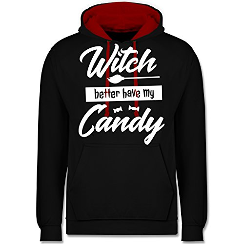 Shirtracer Halloween - Witch Better Have My Candy - XL - Schwarz/Rot - JH003 - Kontrast Hoodie