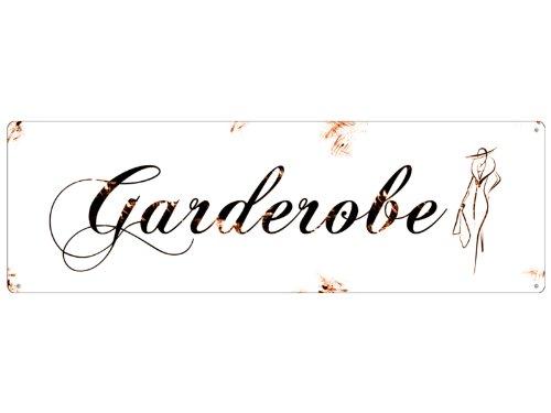 Shabby Vintage Blechschild METALLSCHILD GARDEROBE Dekoschild Landhaus Chic