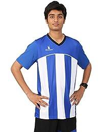 Triumph Men's Polyester Football Royal Blue Stripe V Neck Uniform