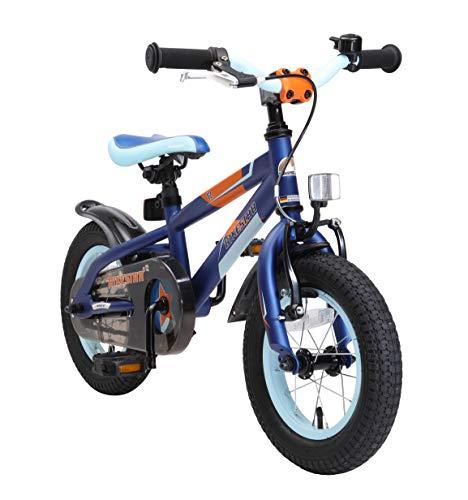 BIKESTAR Kinderfahrrad 12 Zoll für Mädchen und Jungen ab 3-4 Jahre | 12er Kinderrad Mountainbike | Fahrrad für Kinder Blau & Orange (Und 12 Reifen Zoll Fahrrad Rad)
