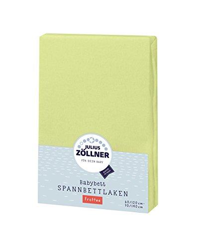 Julius Zöllner 8300113340 - Spannbetttuch Frottee für Kinderbett, Größe: 60x120 cm / 70x140 cm, Farbe: grün