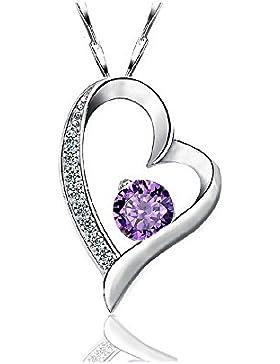 Kette Damen 925 Sterling Silber Zirkonia mit Lebhaft Herz Halskette by bravetzx