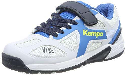 Kempa Wing Junior Scarpe da Pallamano Unisex-Bambini, Bianco (White/fair blue/Navy), 33 EU