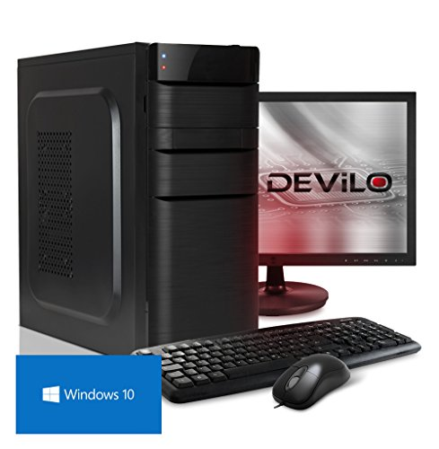 DEViLO PC Komplett Set 1156 mit 55cm TFT (21.5) | AMD A8-9600 Quadcore (Turbo bis 3.4GHz) + 6 Grafikkerne | 8GB DDR4-2133 | Radeon R7 Grafik | 1TB HDD (DVD-RW, HD-Sound, Gigabit-LAN), Maus, Tastatur, Windows 10 Computer
