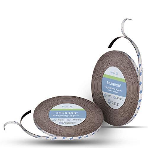 Smagnon magnetband mit 3M Kleber Kleberücken - DAS SMAGNON ORIGINAL - verschiedene Breiten & Längen - Magnetstreifen - Magnetband (3 Meter - Typ A + B, 10mm breite)