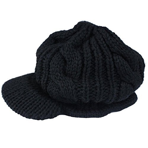 Dealzip Inc Fashion Drape Classic Design Warme Baumwolle Schirmmütze schwarz Militär Baskenmütze Wolle Mütze Beanie, Damen, Cable Knit/Black, One Size Basic Knit Beanie Cap