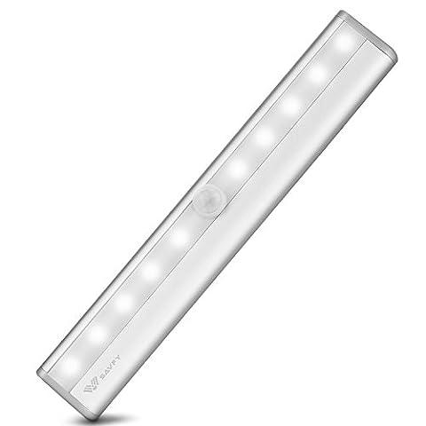 SAVFY 10 LED Lampe Sans Fil Détecteurs de Mouvement en Aluminium Capteur d'Infrarouge Automatique avec Veilleuse pour Placard Cabinet Penderiela Chambre ,Escaliers,Garde-robe ,Cabinet,couloir,sous-sol,Chevet et Autre Clair Sombre Endroit