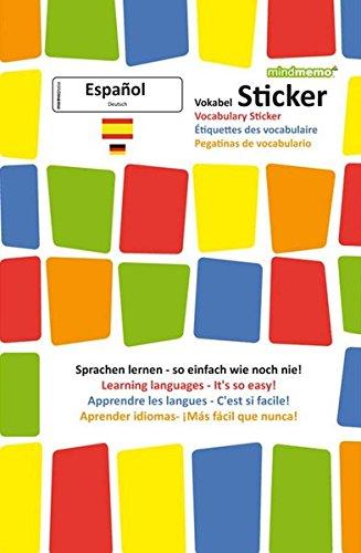 mindmemo Vokabel Sticker - Grundwortschatz Spanisch / Deutsch - 280 Vokabel Aufkleber für Kinder und Erwachsene Spanisch lernen leicht gemacht Lernhilfe Lernsticker Sprachsticker