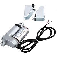 Delicacydex 20MM Stroke DC Motor eléctrico de Varilla de Empuje con Conjunto de Soporte de actuador Lineal para Trabajo Pesado Kit de Soporte de Montaje de Motor portátil - Plateado