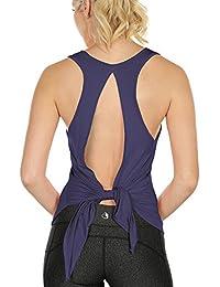 4dbb512ab2a31 icyzone Camiseta Deportiva sin Mangas y Manga Corta de Espalda Abierta para  Mujer