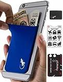 Custodia porta carte e borsellino per telefono – Portamonete e carte di credito Gecko - Portafoglio e portacellulare – Porta monete per retro telefono - Blu
