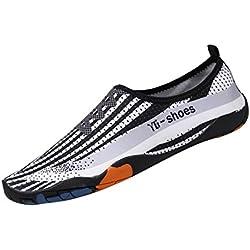 Malloom Unisex Strandschuhe Badeschuhe Aquaschuhe Wasser Schuhe Breathable Schlüpfen Schnell Trocknend Schwimmschuhe Surfschuhe für Damen Herren Kinder Baby (EU:39-40, Weiß)