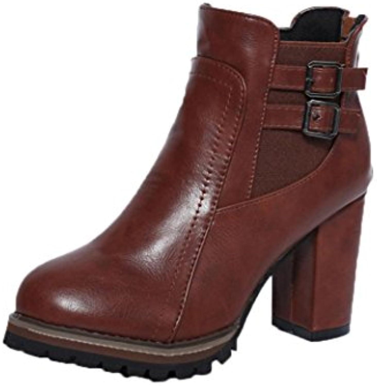 Sky Botas, Botas de Tacón Alto Para Mujer Botas de Tacón Alto Para Mujer 9cm Heel Height Otoño Invierno (37, Marrón) -