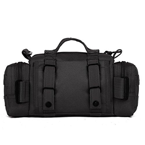 Imagen de huntvp  táctical bolso de cintura bolsa riñonera bandolera cinturón estilo militar bolso de múltiple función riñoneras para herramientas  ejércita bolso impermeable para correr, senderismo, ciclismo,camping, caza, etc, color negro alternativa