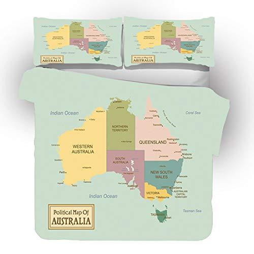 Cnspin Cubierta De Edredón Mapa Mundo Conjunto Impresión