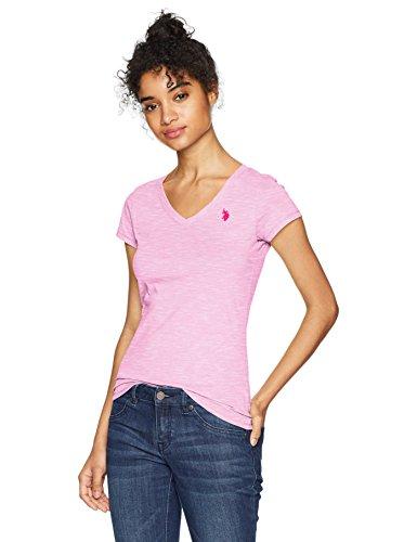 U.S. Polo Assn. Women's Short Sleeve V-Neck T-Shirt, Space Dyed Hard Candy Fcdl, L (T-shirt Frauen Assn Polo Us)