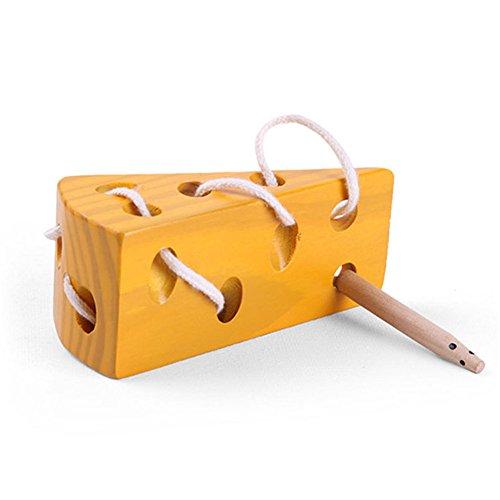 AZX Holzkäsespielzeug Kinder Threading Spiel Block Lernspielzeug Käse und Maus Kinder Reise Spielzeug Im Flugzeug Zug (Käse Block Von)