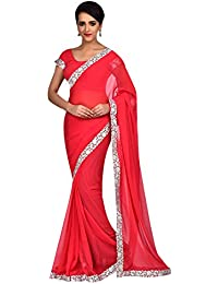 Craftsvilla Womens Georgette Chiffon Lace Border Red Saree With Blouse Piece