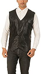 Alpha Men's Classic Leather Jacket (Black, L)