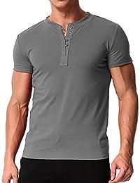 b2b1b2b2ab MODCHOK Herren T-Shirt Shirt Kurzarm Hemd Knopfleiste V-Ausschnitt Tiefem  Ausschnitt Slim Fit
