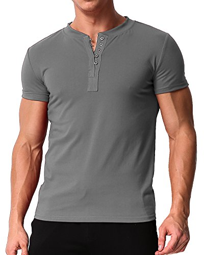 MODCHOK Herren T-Shirt Shirt Kurzarm Hemd Knopfleiste V-Ausschnitt Tiefem Ausschnitt Slim Fit 1 Dunkelgrau 3XL
