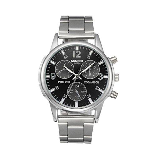 Quarzo di modo orologio da uomo orologi di lusso maschio orologio commerciale mens orologio da polso acciaio inox orologio cinturino in acciaio inox morwind (nero)