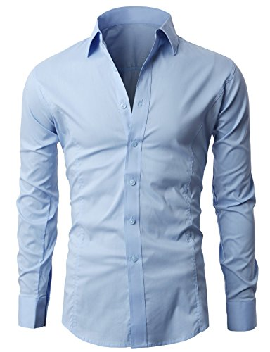 Lyon Becker Men's Shirts Long Sleeve Slim Fit Casual Formal Shirt Basic Plain Dress Office PS01