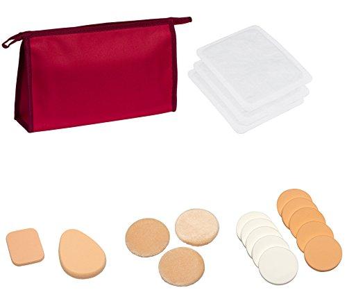 19teilig Sparset Schmink und Abschminkset mit Microfaser Gesichtsreinigungstücher Schminkschwamm Makeup Schwamm Kosmetikschwamm zum Auftragen und Abschminken von Make up und Kosmetik in verschiedenen Größen und Formen - mit Kosmetiktasche Schminktasche -
