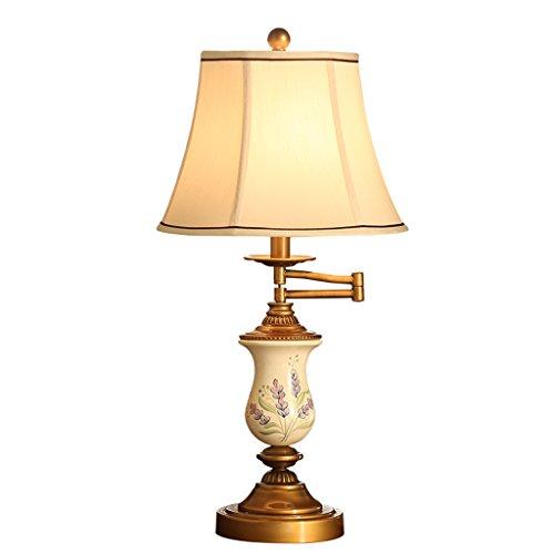 LILY American Galvanik Kupfer Handbemalte Lampen, warme und kreative Studie Schlafzimmer Wohnzimmer Schreibtischlampe (320 ° Rotierenden Rocker Design)