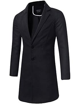 YAANCUN Hombre Color Sólido Slim Elegante Manga Larga Trench Coat Larga Parka Abrigo