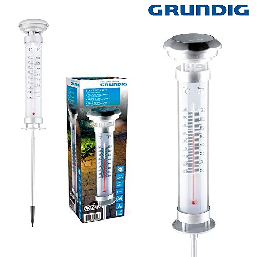 Grundig XL LED 57cm Gartenthermometer Thermometer Wetterstation Standthermometer mit Solarbeleuchtung