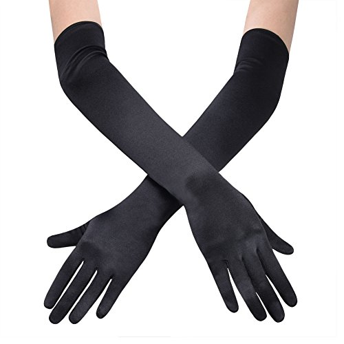Kayamiya Damen 1920er Gatsby Lange Oper Ball Ellbogenlänge Satin Handschuh Costume Schwarz
