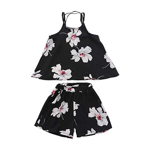 Jungen Mädchen Unisex KinderKleidung, Yanhoo Schöne Niedliche Blumen Riemen Anzug Anzug Mode Komfortabel Lässig Floral Shorts Komfort Kurze Pumphose Sommershorts