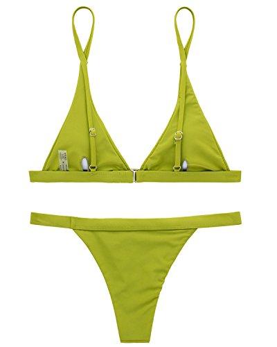 X-HERR Damen Sexy Triangel Top Brasilianisch Boden Bikini Badebekleidung Grün