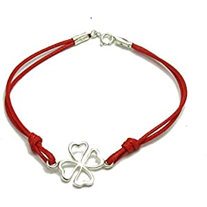 Sterling silber armband Klee mit roter schnur 925 Empress jewellery