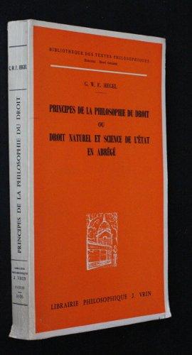 Principes de la philosophie du droit, ou droit naturel et science de l'Etat en abrégé