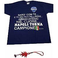 e9d2b784b92c1 Generico t-Shirt Maglia Blu Stampata SARO  con Te Napoli Torna Campione  Come con