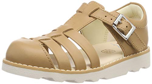Clarks Crown Stem T, Sandalias Punta Cerrada para Niñas, Marrón Tan Leather-, 25.5 EU