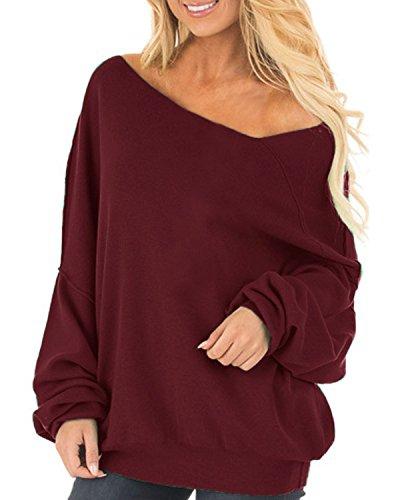 Und 1 Pullover (Auxo Damen Langarm Schulterfrei Jumper Lose Sweatshirt Pullover Oberteil Tops Hemd Oversize 01-Wein rot EU 48/Etikettgröße 2XL)